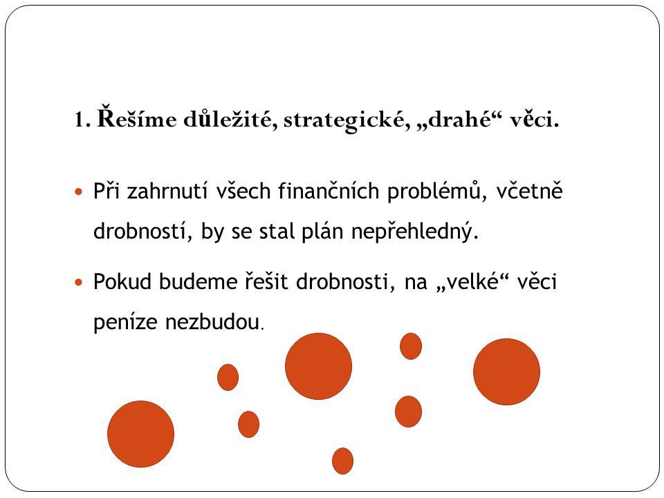 """1. Ř ešíme d ů ležité, strategické, """"drahé"""" v ě ci. Při zahrnutí všech finančních problémů, včetně drobností, by se stal plán nepřehledný. Pokud budem"""