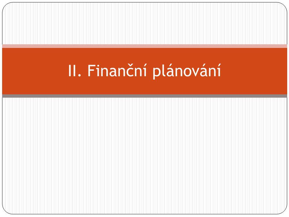 Finanční plánování Plánování v oblasti financí.Charakterem strategické.