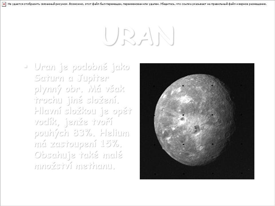 URAN UUUUran je podobně jako Saturn a Jupiter plynný obr. Má však trochu jiné složení. Hlavní složkou je opět vodík, jenže tvoří pouhých 83%. Heli