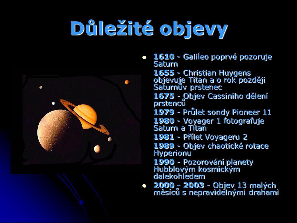 Důležité objevy 1610 - Galileo poprvé pozoruje Saturn 1610 - Galileo poprvé pozoruje Saturn 1655 - Christian Huygens objevuje Titan a o rok později Sa