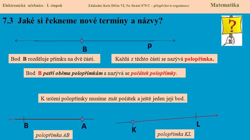 7.3 Jaké si řekneme nové termíny a názvy? Elektronická učebnice - I. stupeň Základní škola Děčín VI, Na Stráni 879/2 – příspěvková organizace Matemati