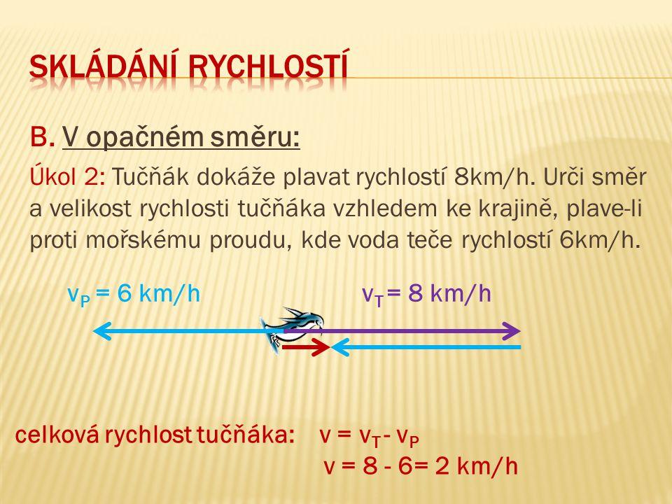 B.V opačném směru: Úkol 2: Tučňák dokáže plavat rychlostí 8km/h.