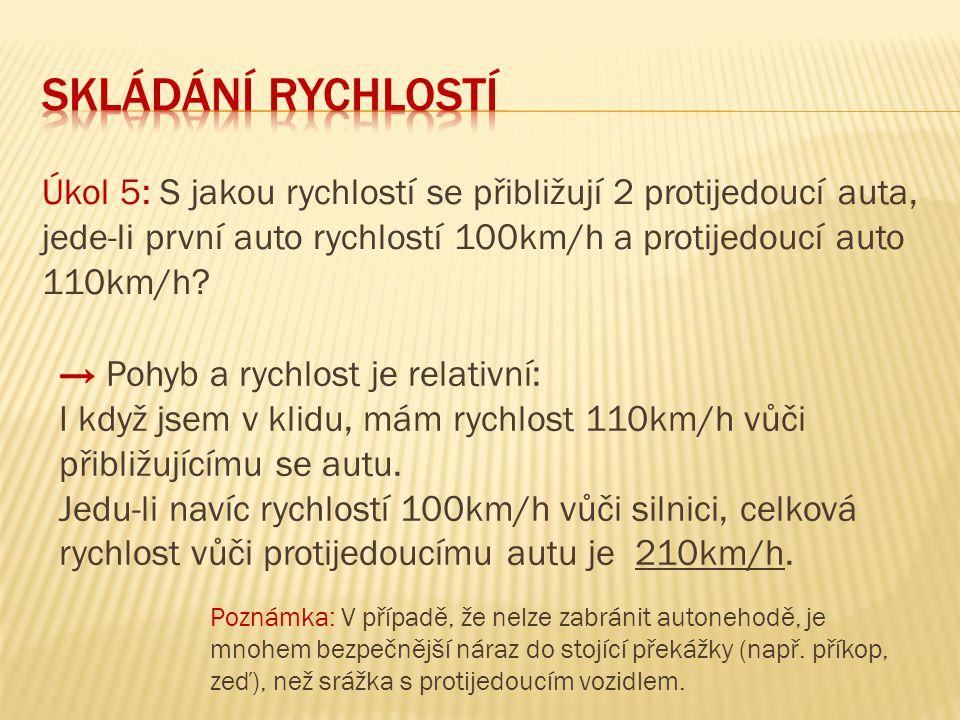 Úkol 5: S jakou rychlostí se přibližují 2 protijedoucí auta, jede-li první auto rychlostí 100km/h a protijedoucí auto 110km/h.