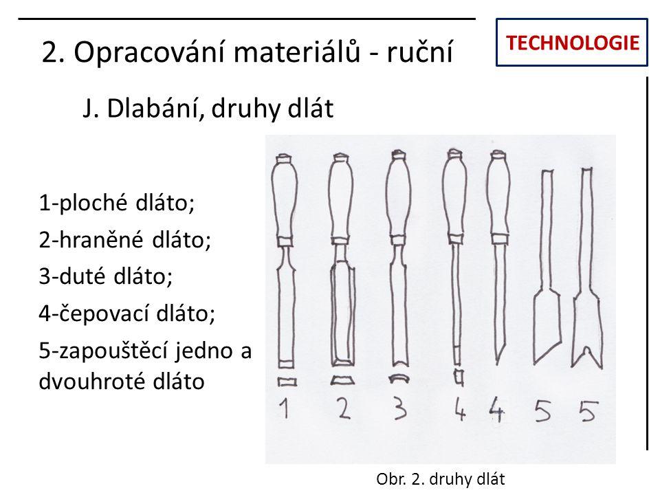 TECHNOLOGIE J. Dlabání, druhy dlát 2. Opracování materiálů - ruční 1-ploché dláto; 2-hraněné dláto; 3-duté dláto; 4-čepovací dláto; 5-zapouštěcí jedno
