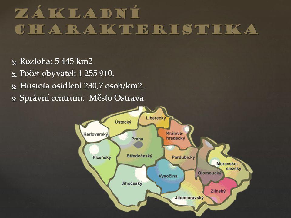  Rozloha: 5 445 km2  Počet obyvatel: 1 255 910.  Hustota osídlení 230,7 osob/km2.  Správní centrum: Město Ostrava základní charakteristika
