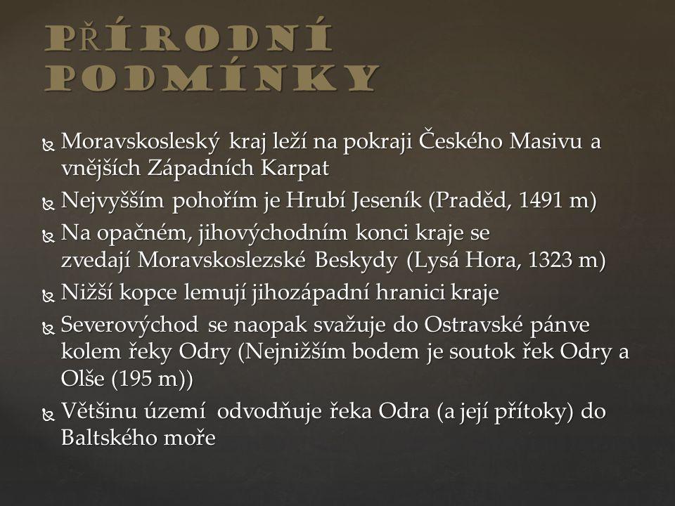  Moravskosleský kraj leží na pokraji Českého Masivu a vnějších Západních Karpat  Nejvyšším pohořím je Hrubí Jeseník (Praděd, 1491 m)  Na opačném, j