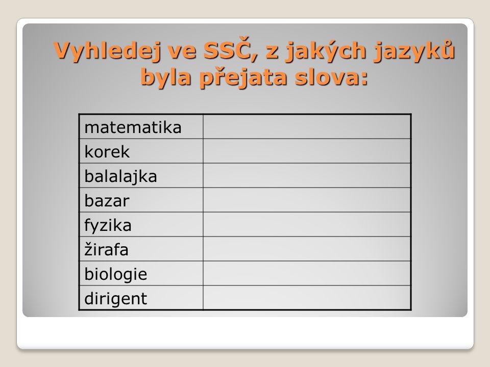 Vyhledej ve SSČ, z jakých jazyků byla přejata slova: matematika korek balalajka bazar fyzika žirafa biologie dirigent