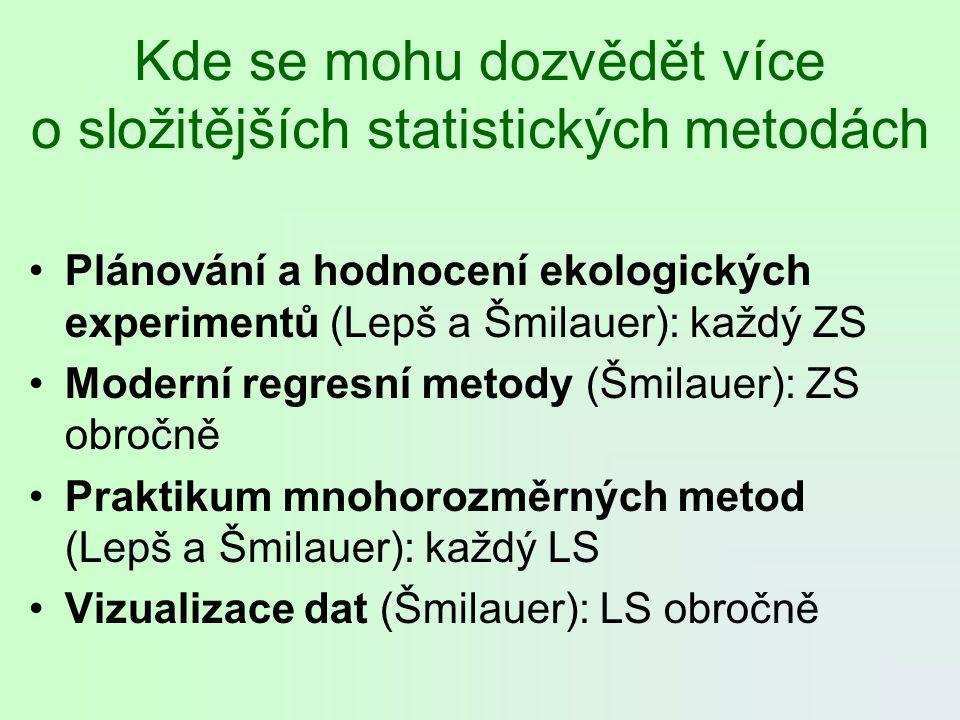 Kde se mohu dozvědět více o složitějších statistických metodách Plánování a hodnocení ekologických experimentů (Lepš a Šmilauer): každý ZS Moderní reg
