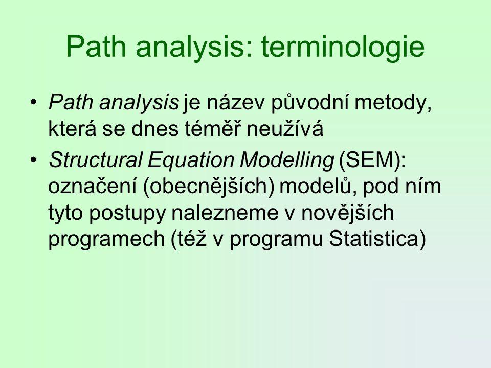 Path analysis: terminologie Path analysis je název původní metody, která se dnes téměř neužívá Structural Equation Modelling (SEM): označení (obecnějš