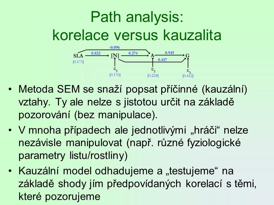 Path analysis: korelace versus kauzalita Metoda SEM se snaží popsat příčinné (kauzální) vztahy. Ty ale nelze s jistotou určit na základě pozorování (b