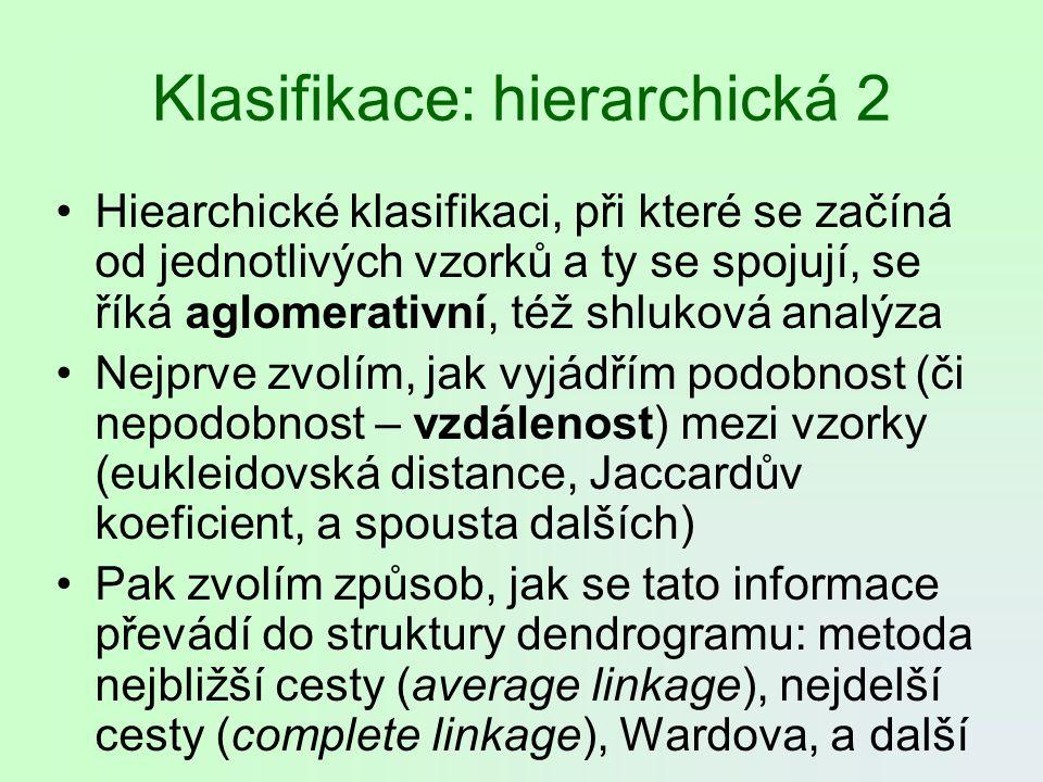 Klasifikace: hierarchická 2 Hiearchické klasifikaci, při které se začíná od jednotlivých vzorků a ty se spojují, se říká aglomerativní, též shluková a