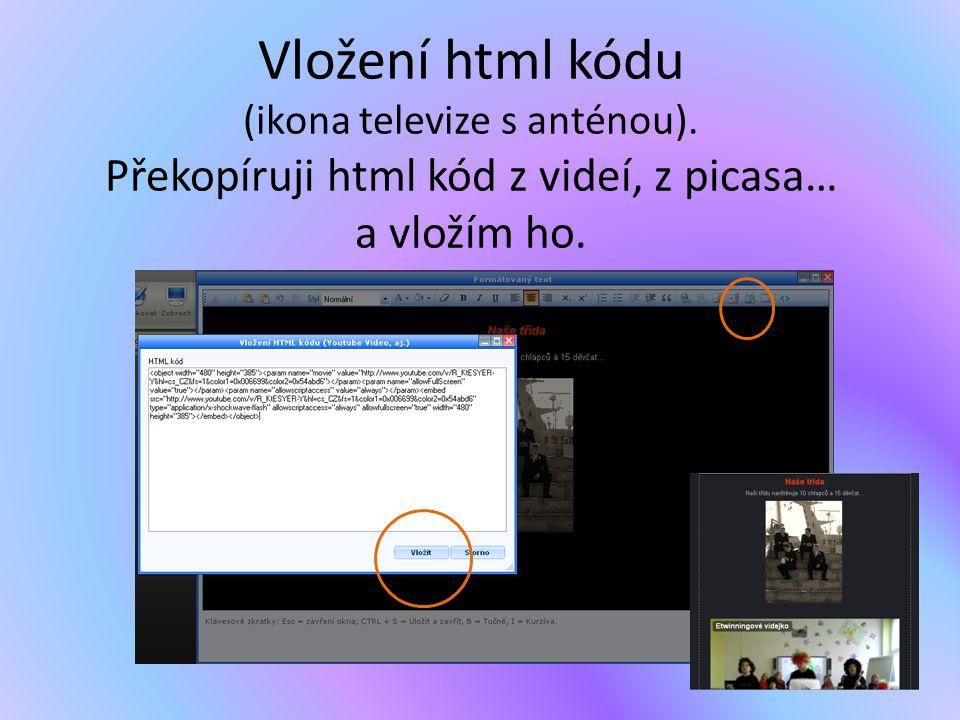 Vložení html kódu (ikona televize s anténou). Překopíruji html kód z videí, z picasa… a vložím ho.