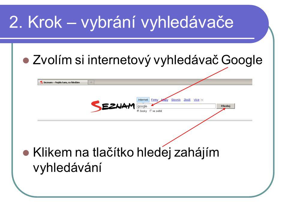 2. Krok – vybrání vyhledávače Zvolím si internetový vyhledávač Google Klikem na tlačítko hledej zahájím vyhledávání