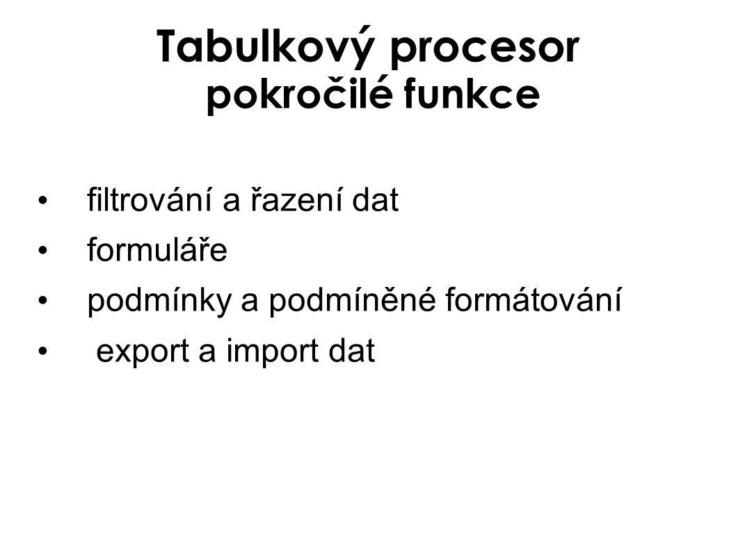 Export dat Stačí data uložit volbou uložit jako do požadovaného formátu Nejdůležitější formáty pro export dat Stránka WWW (.htm,.html) Klasický textový formát (.txt) Databázový formát (.dfb)