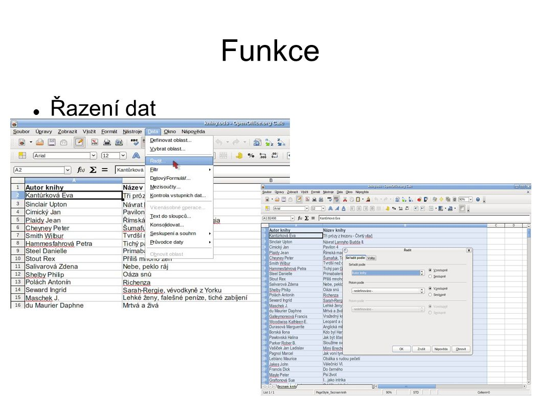 Funkce Řazení dat