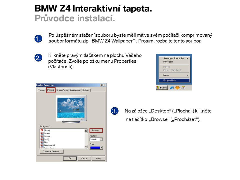BMW Z4 Interaktivní tapeta. Průvodce instalací. 1.