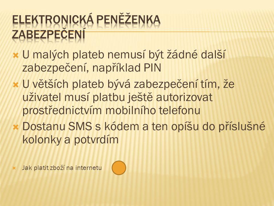  U malých plateb nemusí být žádné další zabezpečení, například PIN  U větších plateb bývá zabezpečení tím, že uživatel musí platbu ještě autorizovat prostřednictvím mobilního telefonu  Dostanu SMS s kódem a ten opíšu do příslušné kolonky a potvrdím  Jak platit zboží na internetu