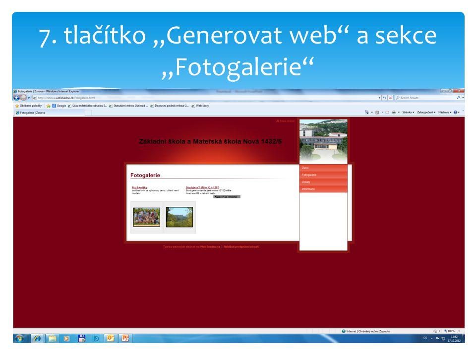 """7. tlačítko """"Generovat web a sekce """"Fotogalerie"""