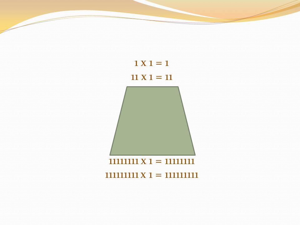 1 x 1 = 1 11 x 1 = 11 111 x 1 = 111 1111 x 1 = 1111 11111 x 1 = 11111 111111 x 1 = 111111 1111111 x 1 = 1111111 11111111 x 1 = 11111111 111111111 x 1 = 111111111