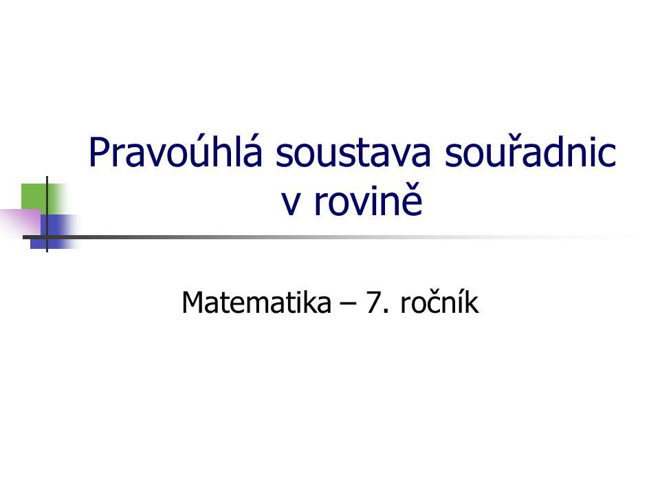 Pravoúhlá soustava souřadnic v rovině Matematika – 7. ročník