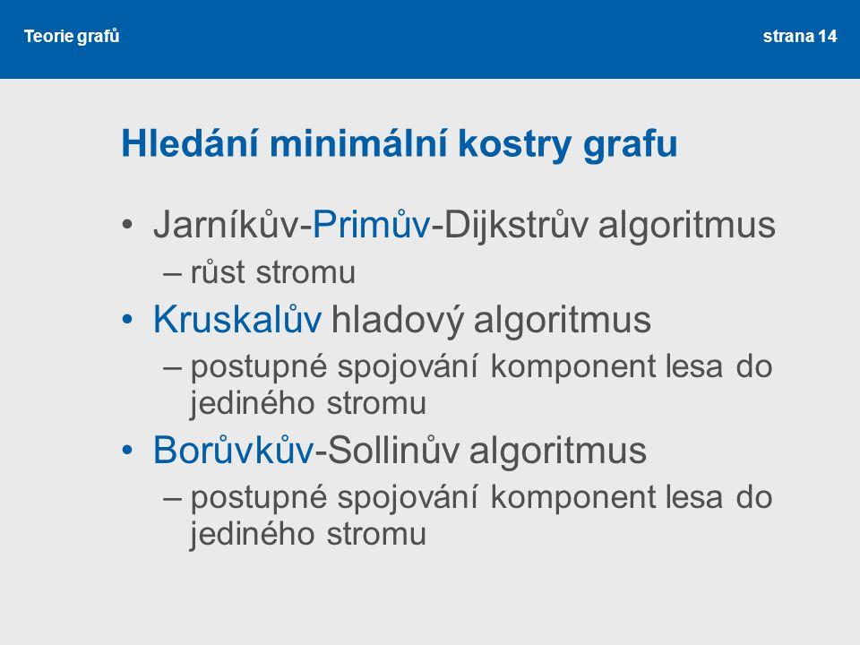 Teorie grafů Hledání minimální kostry grafu Jarníkův-Primův-Dijkstrův algoritmus –růst stromu Kruskalův hladový algoritmus –postupné spojování kompone