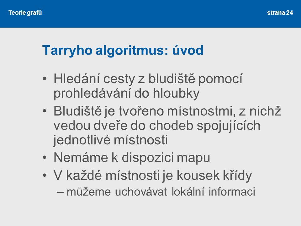 Teorie grafů Tarryho algoritmus: úvod Hledání cesty z bludiště pomocí prohledávání do hloubky Bludiště je tvořeno místnostmi, z nichž vedou dveře do c