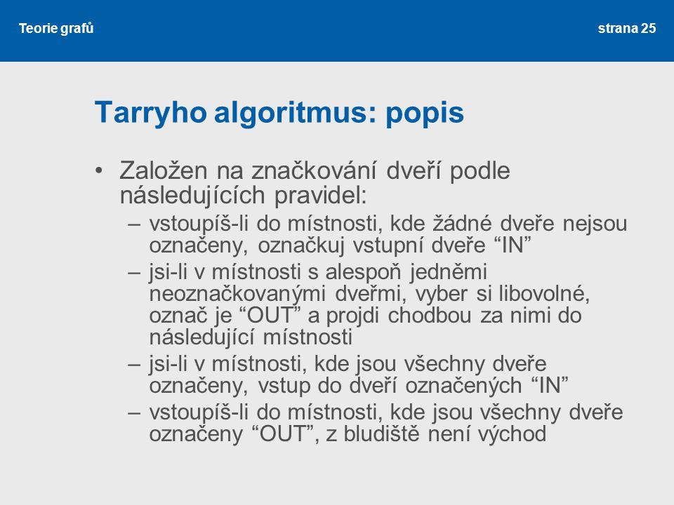 Teorie grafů Tarryho algoritmus: popis Založen na značkování dveří podle následujících pravidel: –vstoupíš-li do místnosti, kde žádné dveře nejsou ozn