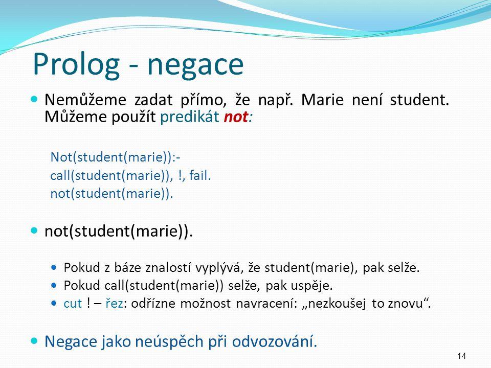 Nemůžeme zadat přímo, že např. Marie není student. Můžeme použít predikát not: Not(student(marie)):- call(student(marie)), !, fail. not(student(marie)