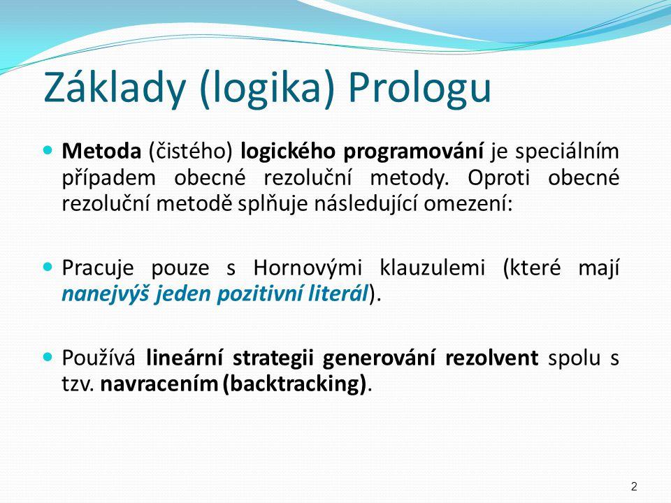 Základy (logika) Prologu Metoda (čistého) logického programování je speciálním případem obecné rezoluční metody. Oproti obecné rezoluční metodě splňuj
