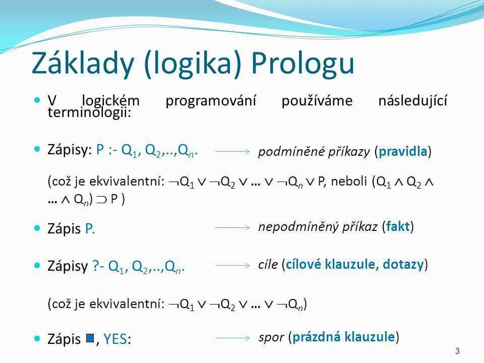 V logickém programování používáme následující terminologii: Zápisy: P :- Q 1, Q 2,..,Q n. (což je ekvivalentní:  Q 1   Q 2  …   Q n  P, neboli