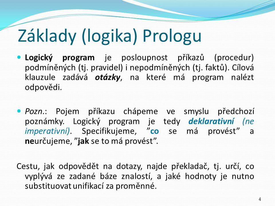 Logický program je posloupnost příkazů (procedur) podmíněných (tj. pravidel) i nepodmíněných (tj. faktů). Cílová klauzule zadává otázky, na které má p
