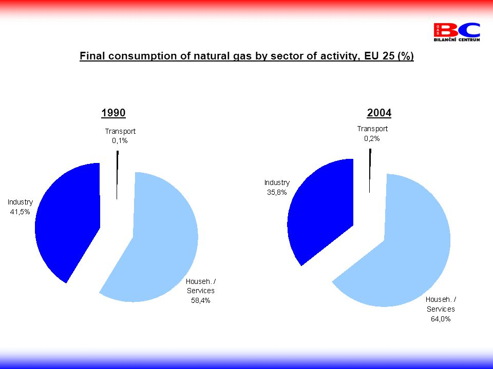 Final consumption of natural gas by sector of activity, EU 25 (%) 19902004