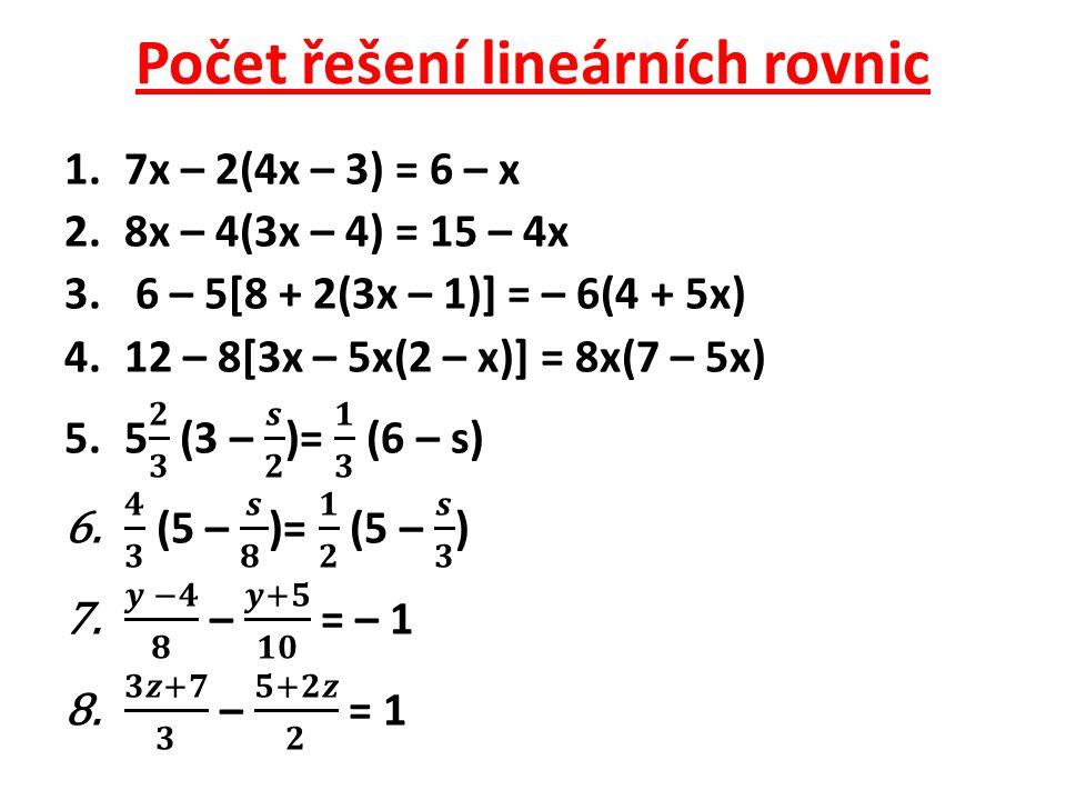 Počet řešení lineárních rovnic