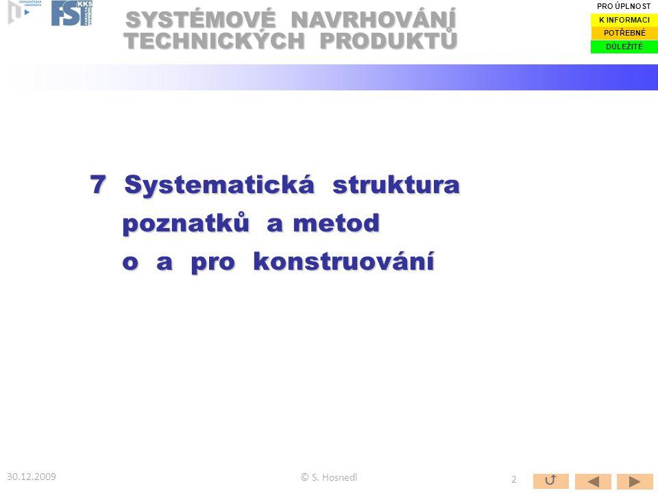 Obr.: Zobrazení hierarchické struktury témat EDSM/TTS o a pro konstruování podle [Hubka&Eder 1996], příp.