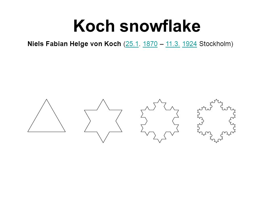 Length of Koch snowflake 3 4/3 * 3 = 4 4/3*4/3*3 = 5,33 (4/3) 3 *3=7,11 (4/3) n *3 →∞
