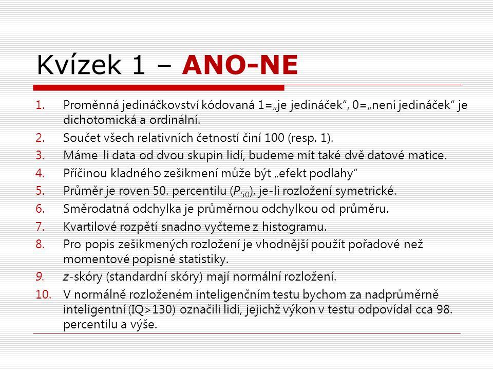 """Kvízek 1 – ANO-NE 1.Proměnná jedináčkovství kódovaná 1=""""je jedináček , 0=""""není jedináček je dichotomická a ordinální."""