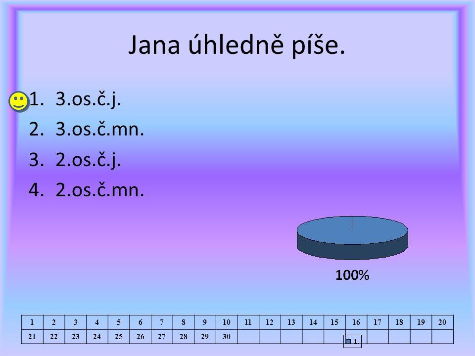 Jana úhledně píše. 1.3.os.č.j. 2.3.os.č.mn. 3.2.os.č.j.