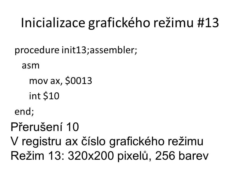 Inicializace grafického režimu #13 procedure init13;assembler; asm mov ax, $0013 int $10 end; Přerušení 10 V registru ax číslo grafického režimu Režim