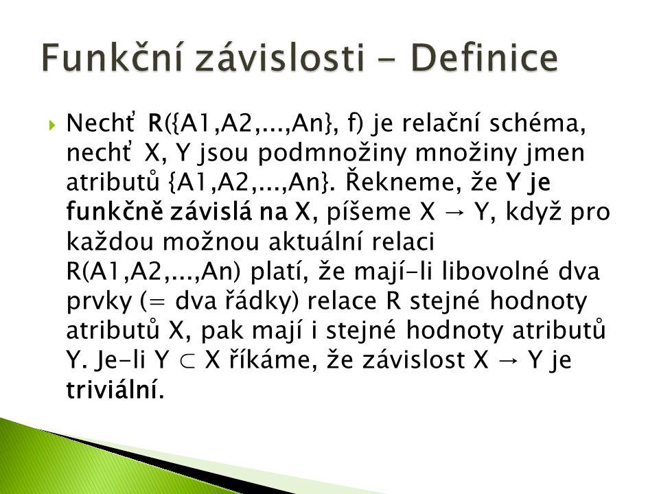  Nechť R({A1,A2,...,An}, f) je relační schéma, nechť X, Y jsou podmnožiny množiny jmen atributů {A1,A2,...,An}. Řekneme, že Y je funkčně závislá na X