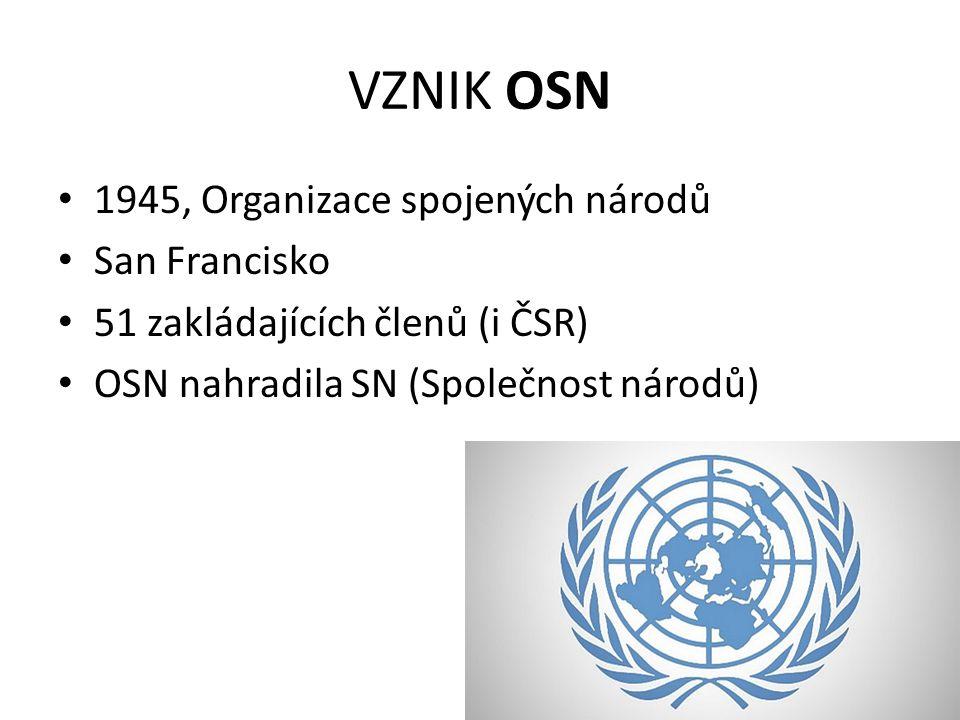 VZNIK OSN 1945, Organizace spojených národů San Francisko 51 zakládajících členů (i ČSR) OSN nahradila SN (Společnost národů)