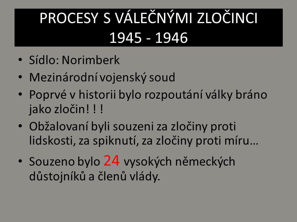 Obžaloba byla vedena i proti 6 organizacím: VEDOUCÍ SBOR NSDAP SS SD (zpravodajská služba) GESTAPO SA VRCHNÍ VELENÍ WEHRMACHTU