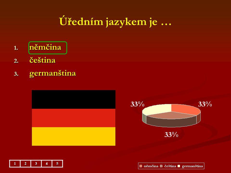 Úředním jazykem je … 1. němčina 2. čeština 3. germanština 12345