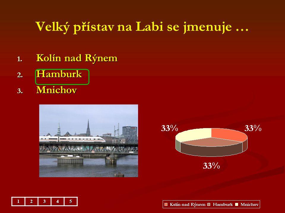 Velký přístav na Labi se jmenuje … 1. Kolín nad Rýnem 2. Hamburk 3. Mnichov 12345
