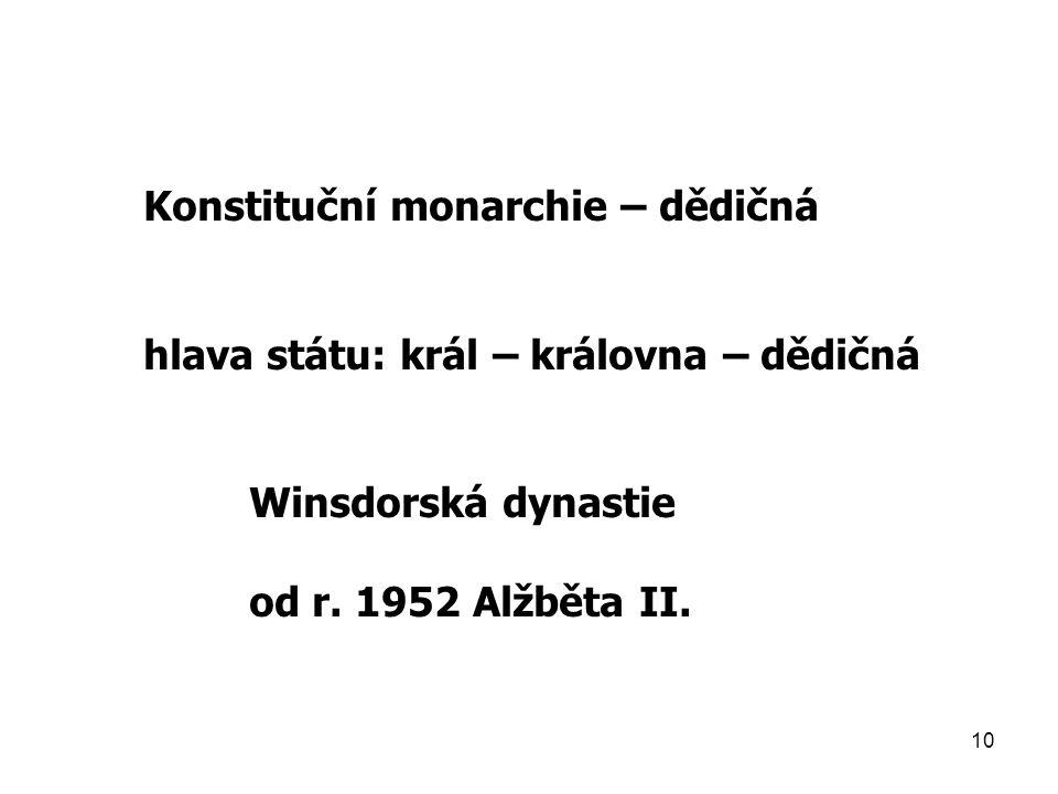 10 Konstituční monarchie – dědičná hlava státu: král – královna – dědičná Winsdorská dynastie od r. 1952 Alžběta II.