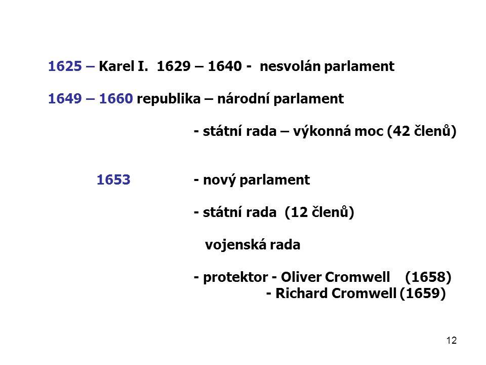 12 1625 – Karel I. 1629 – 1640 - nesvolán parlament 1649 – 1660 republika – národní parlament - státní rada – výkonná moc (42 členů) 1653- nový parlam