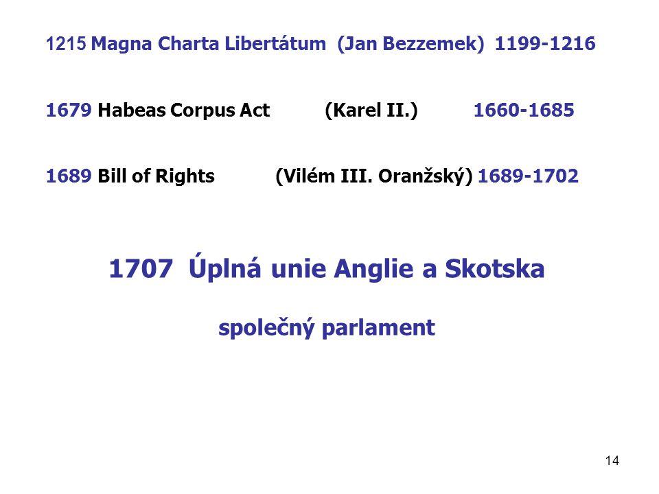 14 1215 Magna Charta Libertátum (Jan Bezzemek) 1199-1216 1679 Habeas Corpus Act (Karel II.) 1660-1685 1689 Bill of Rights (Vilém III. Oranžský) 1689-1
