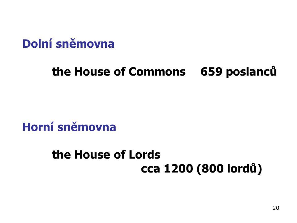 20 Dolní sněmovna the House of Commons659 poslanců Horní sněmovna the House of Lords cca 1200 (800 lordů)