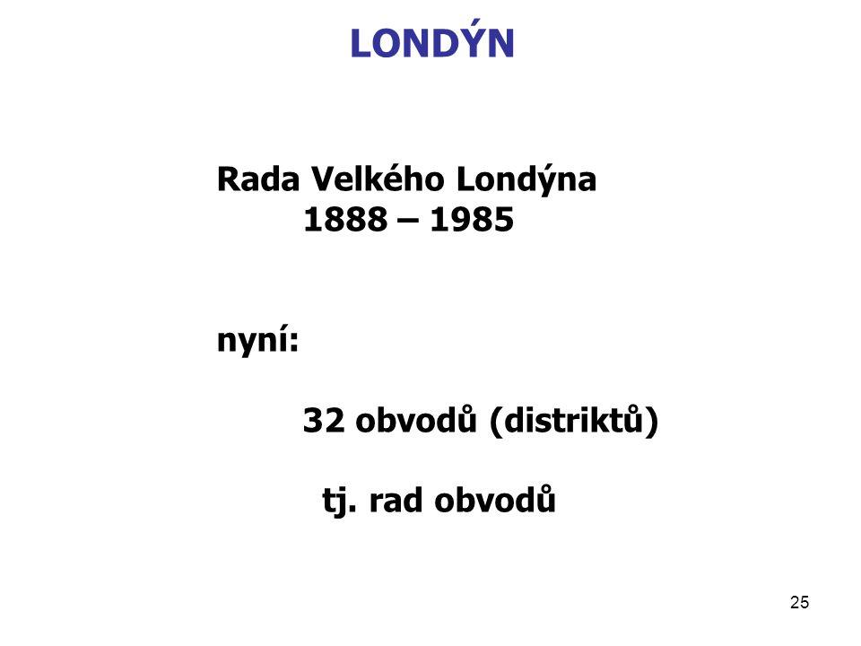 25 LONDÝN Rada Velkého Londýna 1888 – 1985 nyní: 32 obvodů (distriktů) tj. rad obvodů