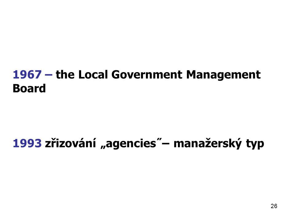 """26 1967 – the Local Government Management Board 1993 zřizování """"agencies˝– manažerský typ"""