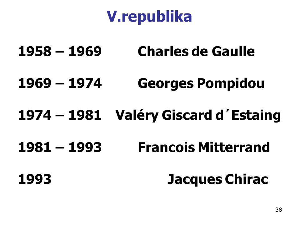 36 V.republika 1958 – 1969 Charles de Gaulle 1969 – 1974Georges Pompidou 1974 – 1981 Valéry Giscard d´Estaing 1981 – 1993Francois Mitterrand 1993Jacques Chirac